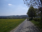 groen-geel door een groen-geel landschap